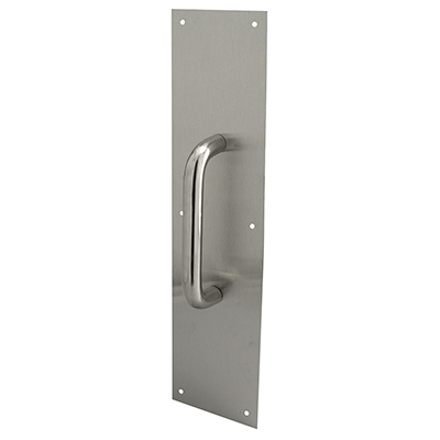 "Picture of J 4643 - DOOR PULL PLATE, 4"" X 16"", ROUND HANDLE, STAINLESS STEEL"