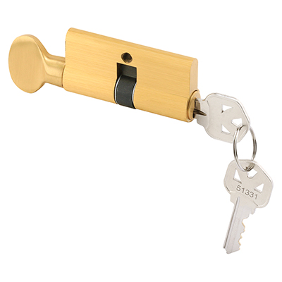 """Picture of K 5062 - Locking Cylinder with Thumbturn, 2-3/8"""", Solid Brass, 5-Pin"""