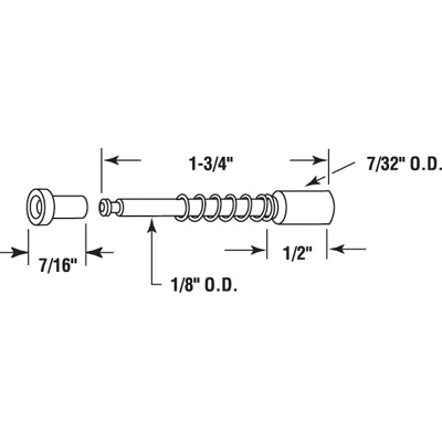 """Picture of PL 14669 - Window Screen Plunger Latch, 1-3/4"""", Diecast, Qty: 25"""