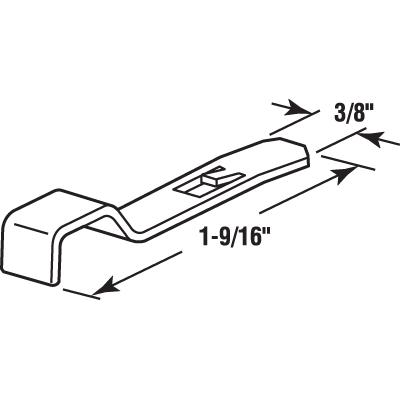 "Picture of PL 14687 - Window Screen Slide Lock, 3/8"" x 1-9/16"", Aluminum"