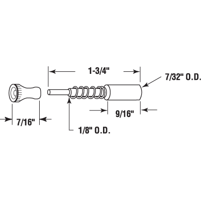 """Picture of PL 14849 - Window Screen Plunger Latches, 1-3/4"""", Aluminum, Qty: 25"""