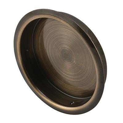 "Picture of N 6766 - Sliding Wardrobe Door Pull Handle, Antique Brass, 1-3/4"" Dia"