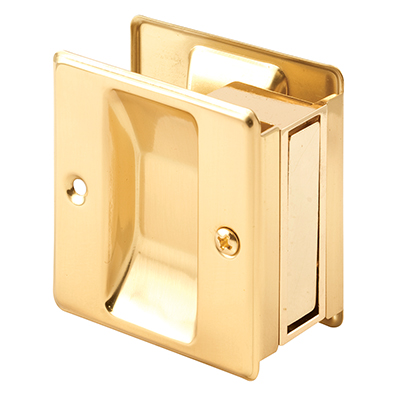 "Picture of N 6770 - Pocket Door Mortise Pull, 2-3/4"", Solid Polished Brass"