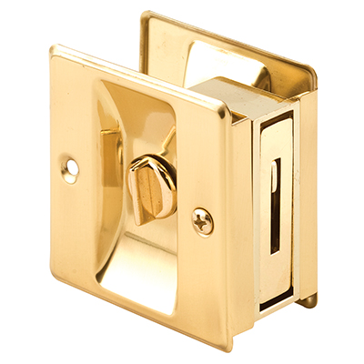 "Picture of N 6771 - Pocket Door Privacy Lock & Pull, 2-3/4"", Solid Pol. Brass"
