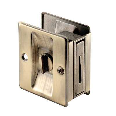 "Picture of N 6774 - Pocket Door Privacy Lock & Pull, 2-3/4"", Solid Brass"