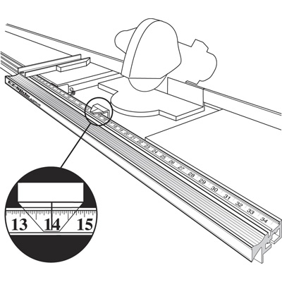 "Picture of P 7926 - E-Z Slide Cut-off Gauge, 114"", Left Hand Stop"