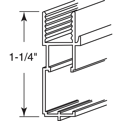 "Picture of PL 14193 - Bottom Window  Frame, 11/32""x 1-1/4""x 72"", Extrud. Alum, Brz"