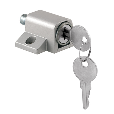 """Picture of S 4004 - Patio Door Lock, Keyed, 1-3/4"""", Zinc, Aluminum Color"""