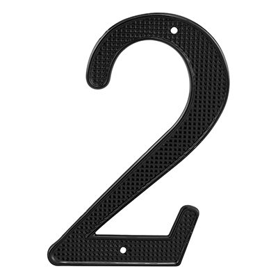 "Picture of S 4112 - House Number, ""2"", 4-1/4"" Tall, Diecast, Black"