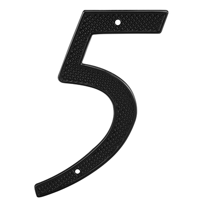 "Picture of S 4115 - House Number ""5"", 4-1/4"" Tall, Diecast, Black"