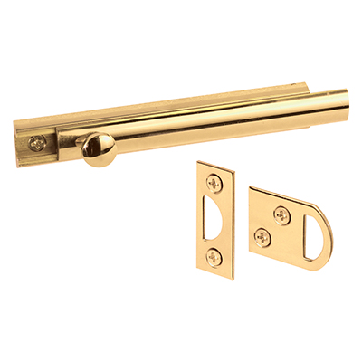 """Picture of U 9961 - Surface Bolt, 4"""", Solid Brass, Polished Brass Finish"""