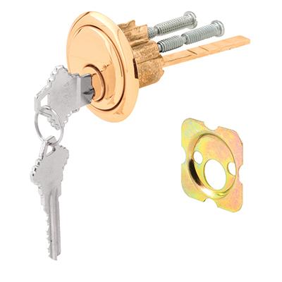 """Picture of U 9966 - Rim Cylinder Lock, 3/4"""" HC, Diecast, Brass Plated, Schlage"""