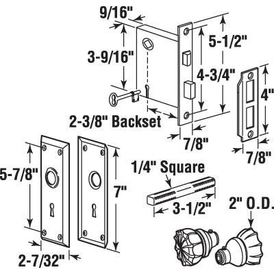 E 2311 Mortise Lock Set 2 3 8 Quot Backset Steel Polished